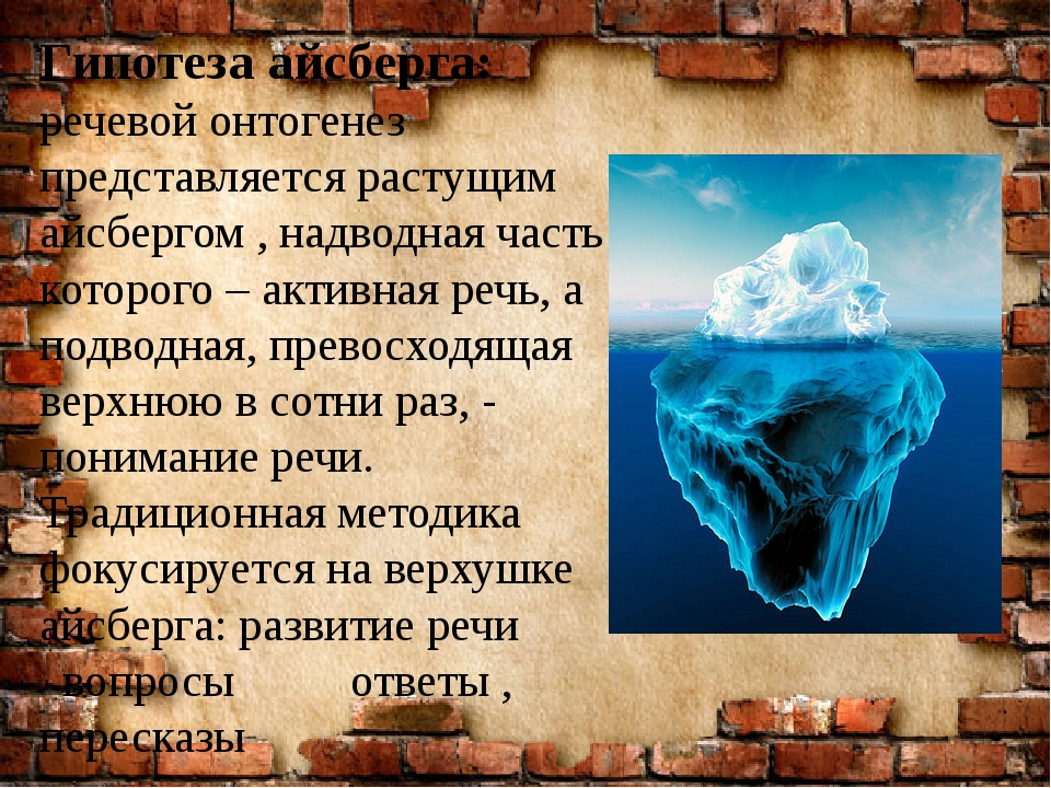 Гипотеза айсберга: речевой онтогенез представляется растущим айсбергом , надв...