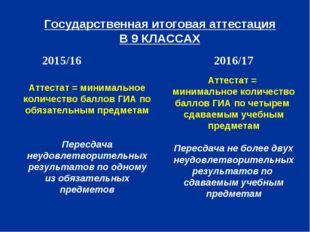 Государственная итоговая аттестация В 9 КЛАССАХ 2015/16 2016/17 Аттестат = м