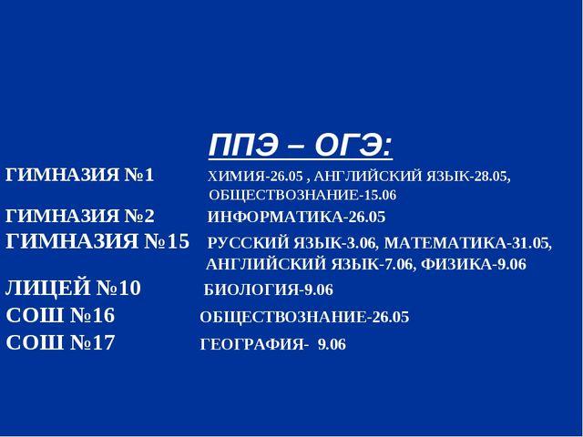 ППЭ – ОГЭ: ГИМНАЗИЯ №1 ХИМИЯ-26.05 , АНГЛИЙСКИЙ ЯЗЫК-28.05, ОБЩЕСТВОЗНАНИЕ-1...