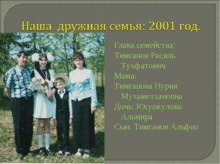Глава семейства: Тимганов Расиль Тухфатович Мама: Тимганова Нурия Мухаметхано