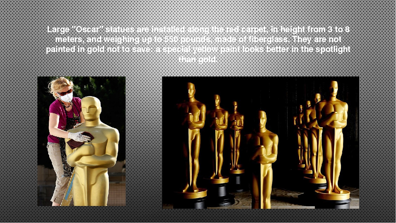 """Large """"Oscar"""" statues are installed along the red carpet, in height from 3 to..."""