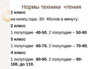 Нормы техники чтения 1 класс на конец года -30- 40слов в минуту; 2 класс 1 по