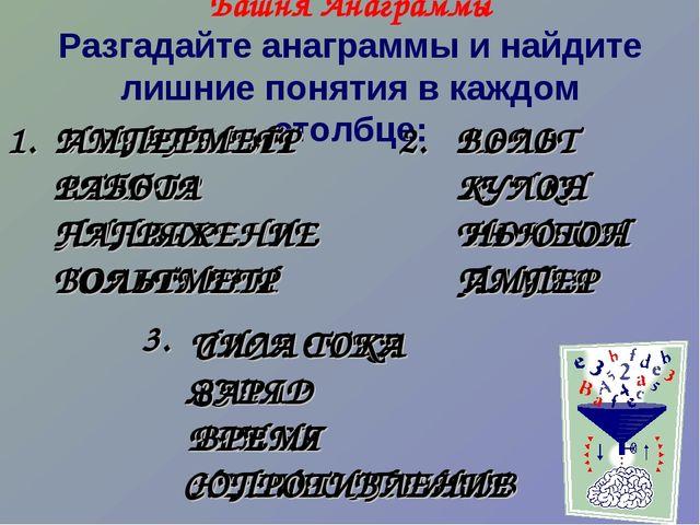 Башня Анаграммы Разгадайте анаграммы и найдите лишние понятия в каждом столбц...