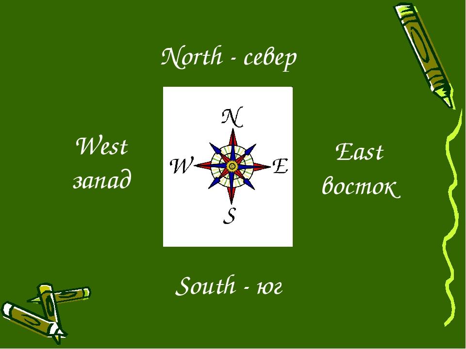 South - юг North - север East восток West запад