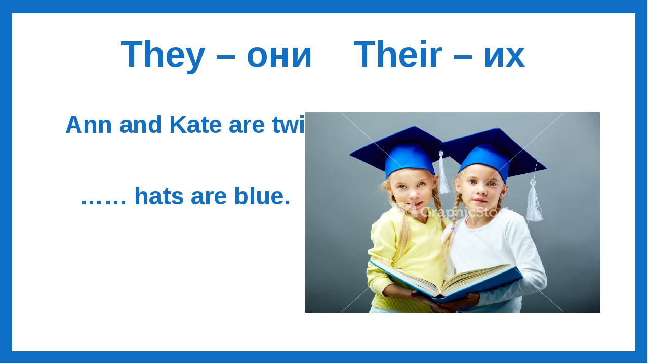 They – они Their – их Ann and Kate are twins. …… hats are blue.