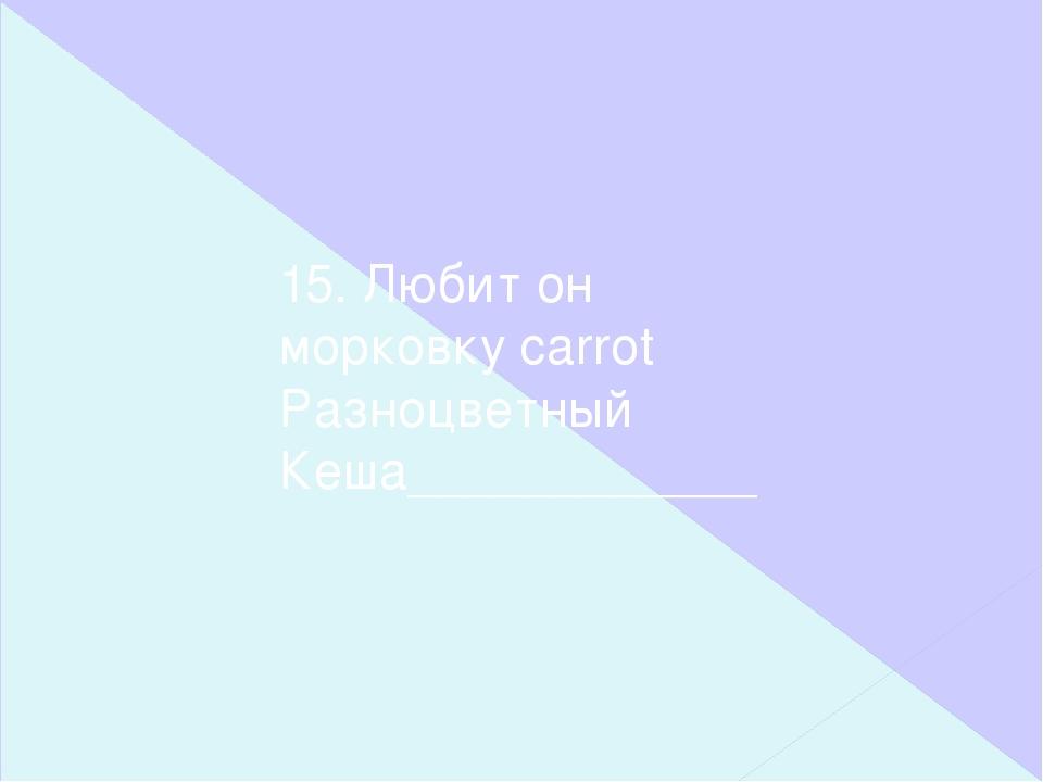 15. Любит он морковку carrot Разноцветный Кеша____________