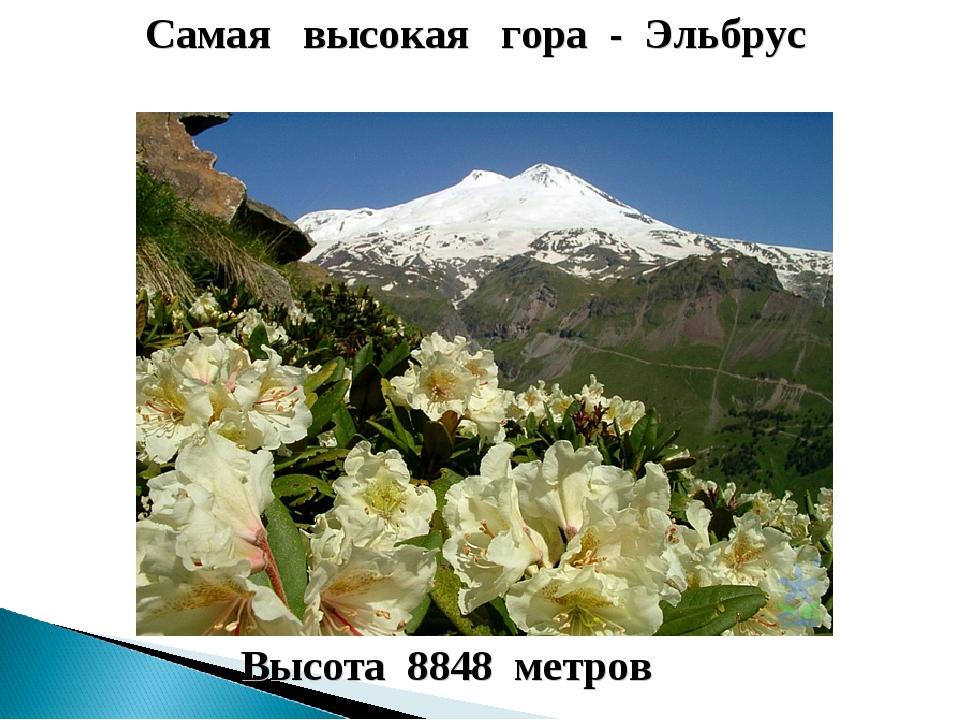 Самая высокая гора - Эльбрус Высота 8848 метров