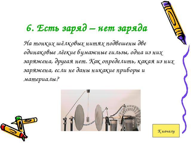 6. Есть заряд – нет заряда На тонких шёлковых нитях подвешены две одинаковы...
