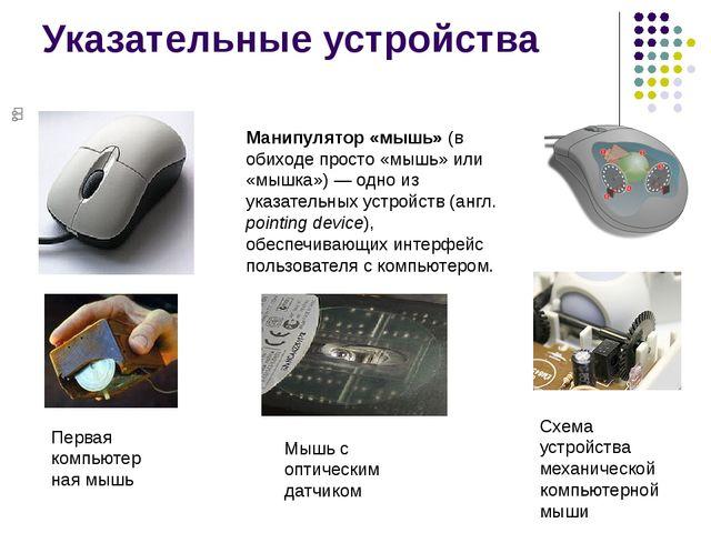 Указательные устройства Манипулятор «мышь» (в обиходе просто «мышь» или «мышк...