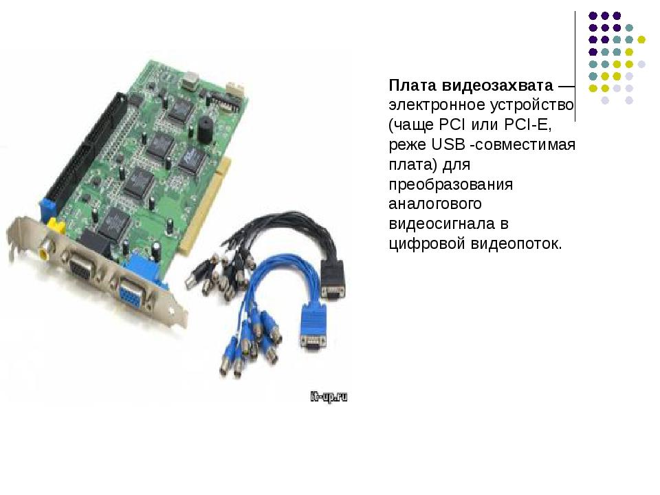 Плата видеозахвата — электронное устройство (чаще PCI или PCI-E, реже USB -со...