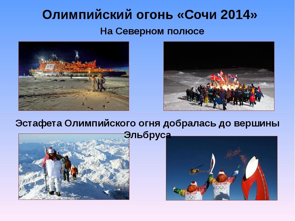 Олимпийский огонь «Сочи 2014» На Северном полюсе Эстафета Олимпийского огня д...