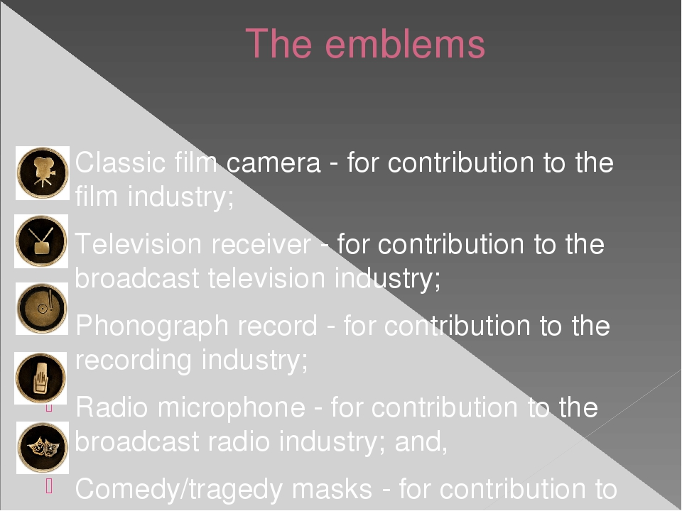 The emblems Classic film camera - for contribution to the film industry; Tele...