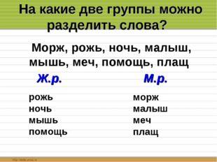 На какие две группы можно разделить слова? Морж, рожь, ночь, малыш, мышь, ме