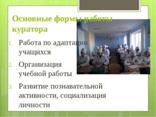 Основные формы работы куратора Работа по адаптации учащихся Организация учебн