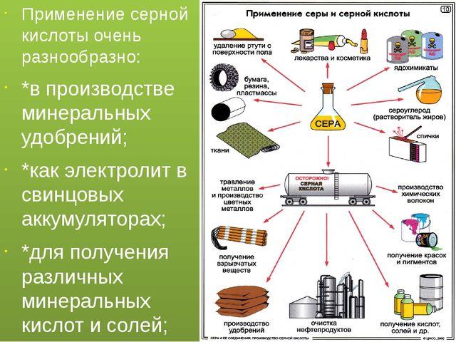 Применение серной кислоты очень разнообразно: *в производстве минеральных удо...