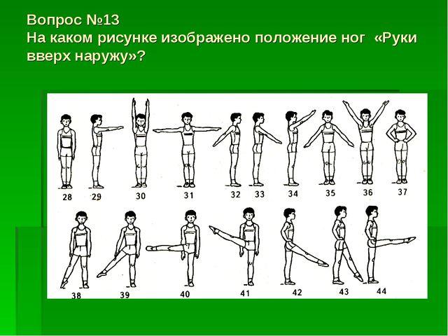Вопрос №13 На каком рисунке изображено положение ног «Руки вверх наружу»?