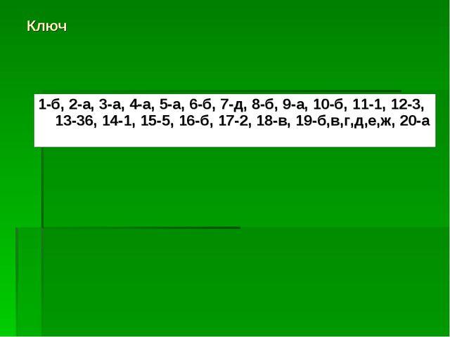 Ключ 1-б, 2-а, 3-а, 4-а, 5-а, 6-б, 7-д, 8-б, 9-а, 10-б, 11-1, 12-3, 13-36, 14...