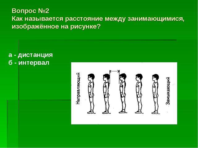 Вопрос №2 Как называется расстояние между занимающимися, изображённое на рису...