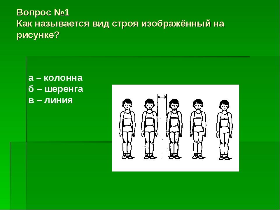 Вопрос №1 Как называется вид строя изображённый на рисунке? а – колонна б – ш...