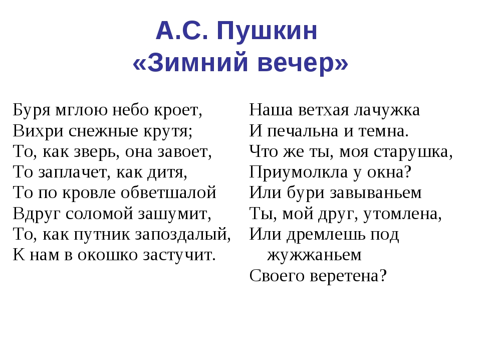 А.С. Пушкин «Зимний вечер» Буря мглою небо кроет, Вихри снежные крутя; То, ка...