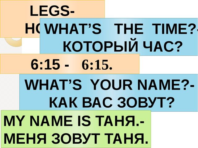 LEGS-НОЖКИ WHAT'S THE TIME?- КОТОРЫЙ ЧАС? 6:15 - 6:15. WHAT'S YOUR NAME?- КАК...