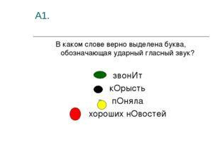 А1. В каком слове верно выделена буква, обозначающая ударный гласный звук? зв