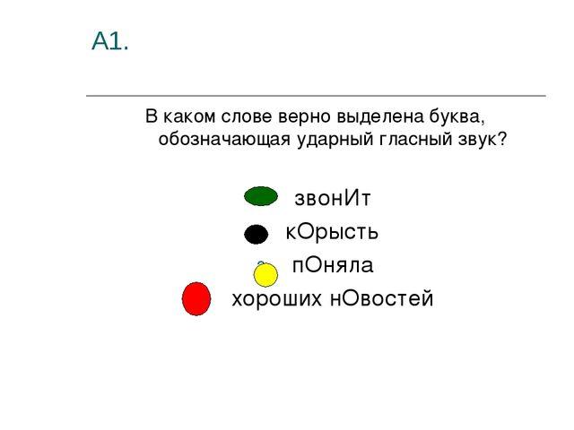 А1. В каком слове верно выделена буква, обозначающая ударный гласный звук? зв...