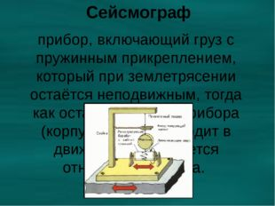 Сейсмограф прибор, включающий груз с пружинным прикреплением, который при зем