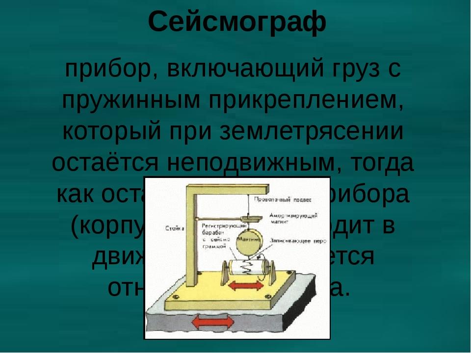 Сейсмограф прибор, включающий груз с пружинным прикреплением, который при зем...