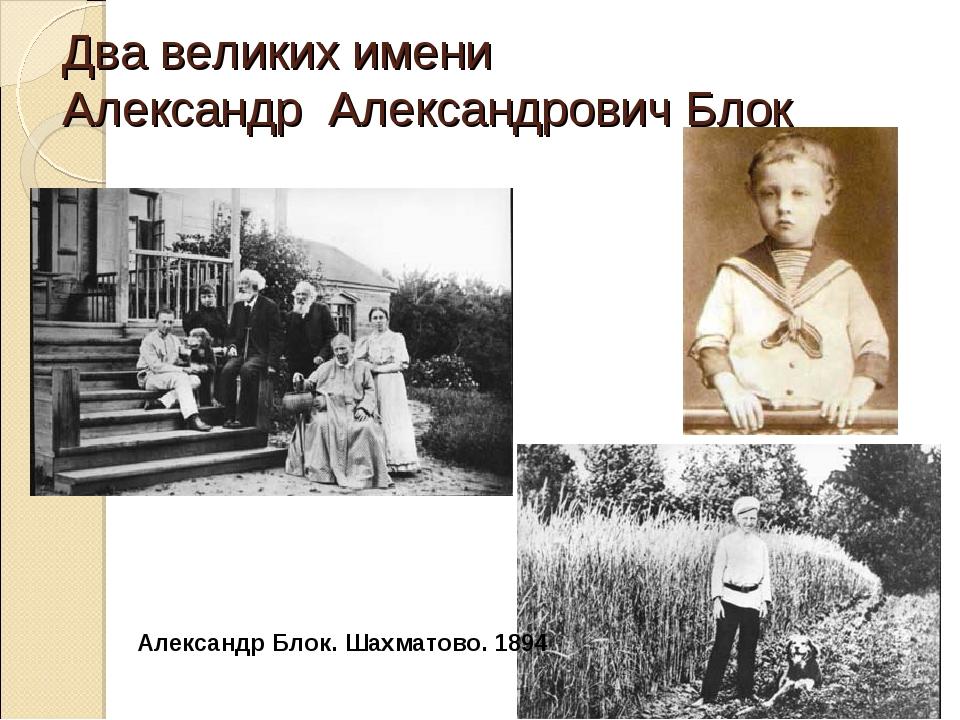 Два великих имени Александр Александрович Блок Александр Блок. Шахматово. 1894