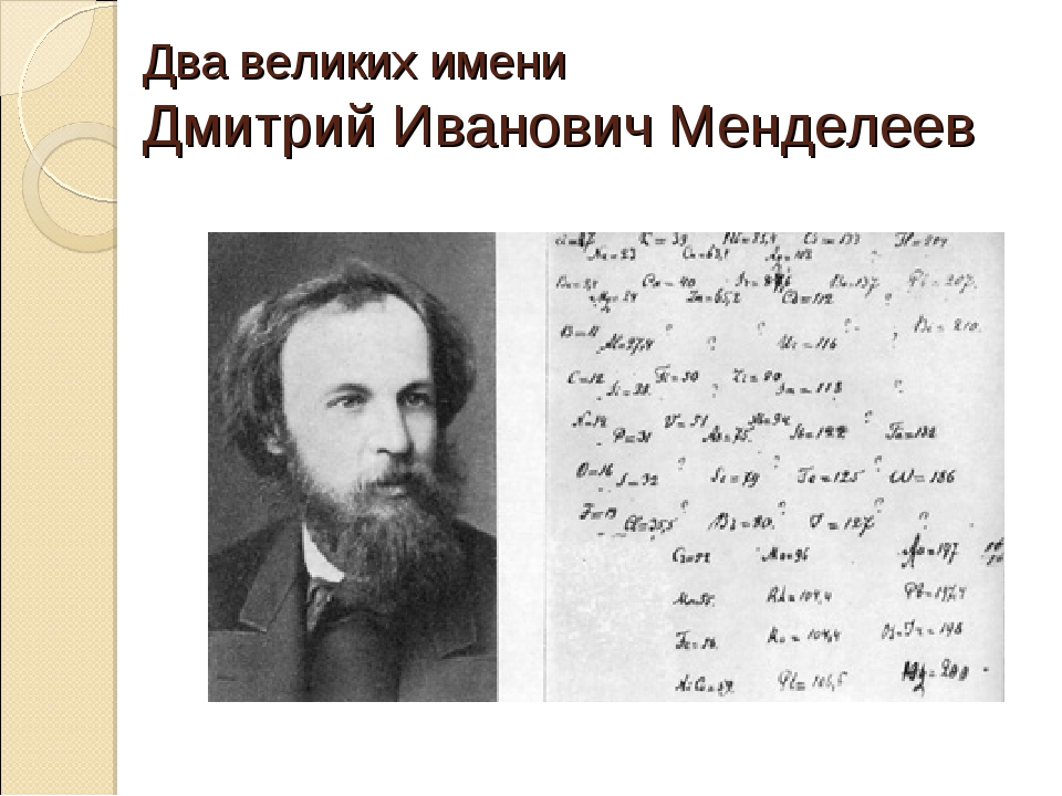 Два великих имени Дмитрий Иванович Менделеев