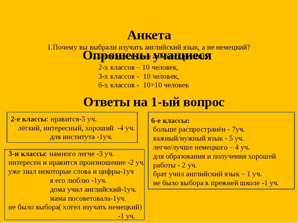 Анкета 1.Почему вы выбрали изучать английский язык, а не немецкий? 2. Зачем...
