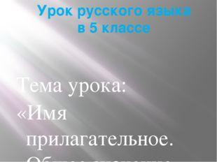 Урок русского языка в 5 классе Тема урока: «Имя прилагательное. Общее значение»