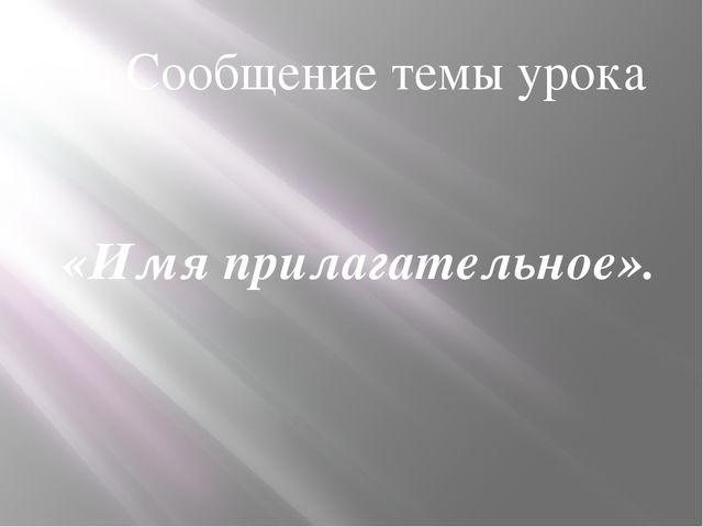 2. Сообщение темы урока «Имя прилагательное».