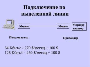 Подключение по выделенной линии Модем Модем Маршру- тизатор Провайдер Пользов