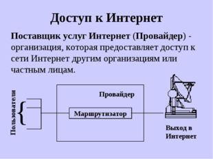 Доступ к Интернет Поставщик услуг Интернет (Провайдер) - организация, которая