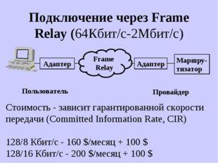 Подключение через Frame Relay (64Кбит/с-2Mбит/c) Адаптер Frame Relay Адаптер