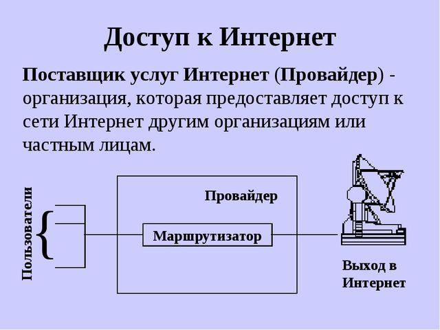 Доступ к Интернет Поставщик услуг Интернет (Провайдер) - организация, которая...