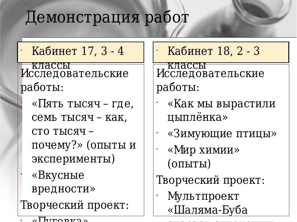 Демонстрация работ Кабинет 17, 3 - 4 классы Исследовательские работы: «Пять т...