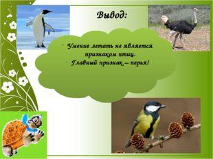 Вывод: Умение летать не является признаком птиц. Главный признак – перья! Выв