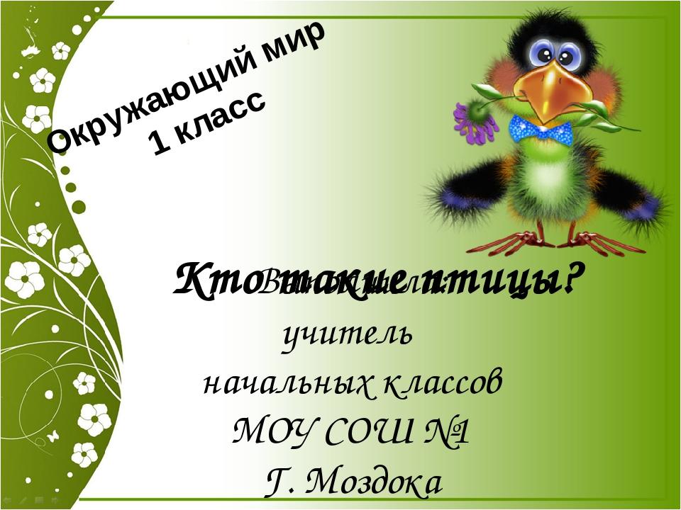 Кто такие птицы? Выполнила: учитель начальных классов МОУ СОШ №1 Г. Моздока К...