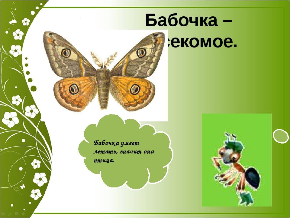 Бабочка – насекомое. Бабочка умеет летать, значит она птица. Бабочка умеет ле...