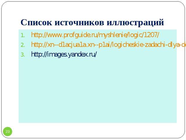 Список источников иллюстраций http://www.profguide.ru/myshlenie/logic/1207/ h...