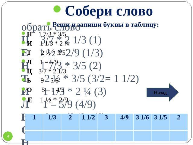 Собрать слово Ц 3/7 * 2 1/3 (1) Е 1 ½ * 2/9 (1/3) Н 1 7/3 * 3/5 (2) Т 2 ½ * 3...