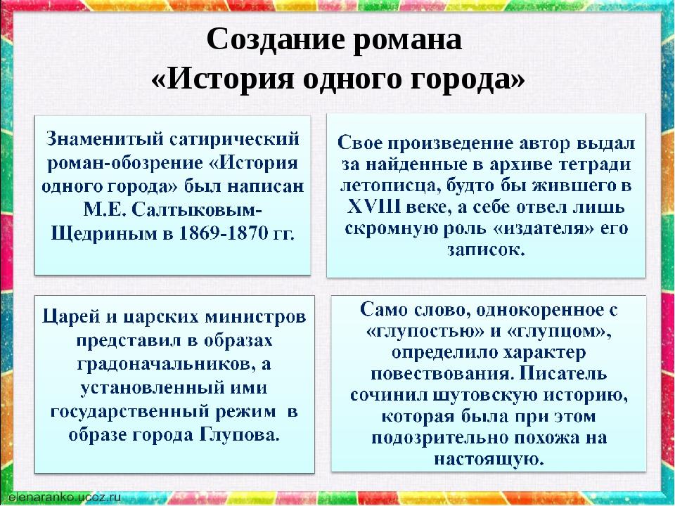 Создание романа «История одного города»
