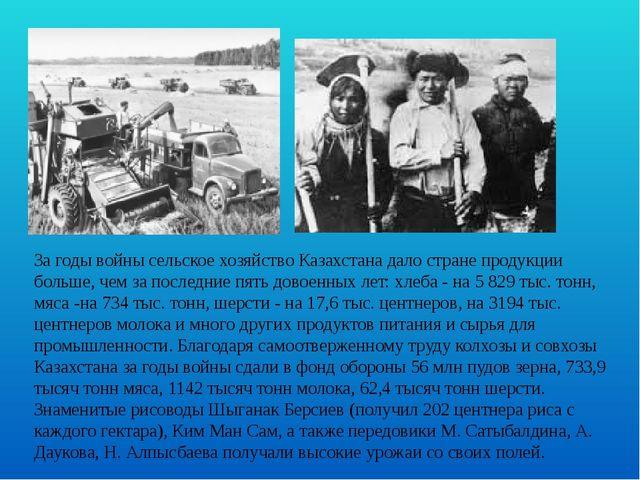За годы войны сельское хозяйство Казахстана дало стране продукции больше, чем...