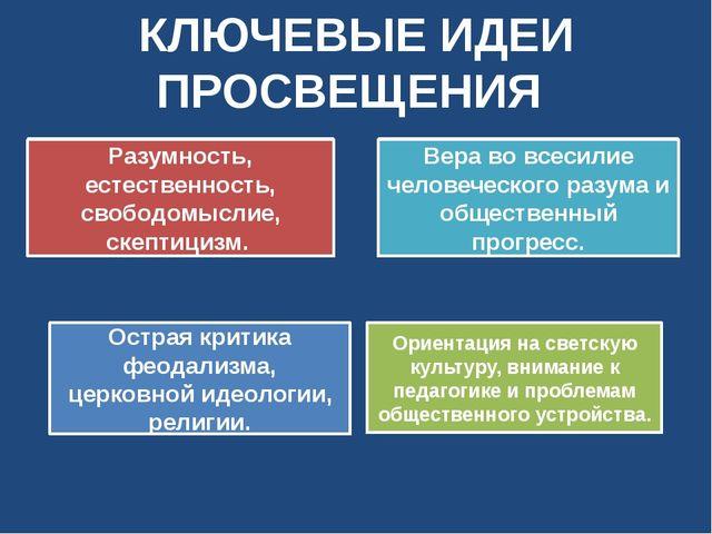 КЛЮЧЕВЫЕ ИДЕИ ПРОСВЕЩЕНИЯ Ориентация на светскую культуру, внимание к педагог...