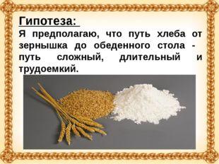 Гипотеза: Я предполагаю, что путь хлеба от зернышка до обеденного стола - пут
