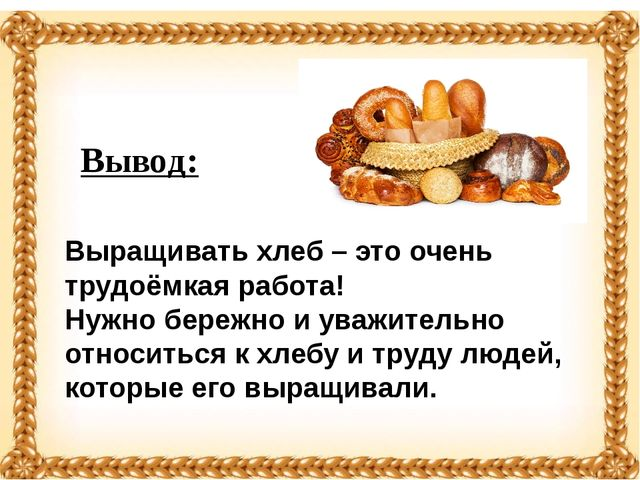 Вывод: Выращивать хлеб – это очень трудоёмкая работа! Нужно бережно и уважит...