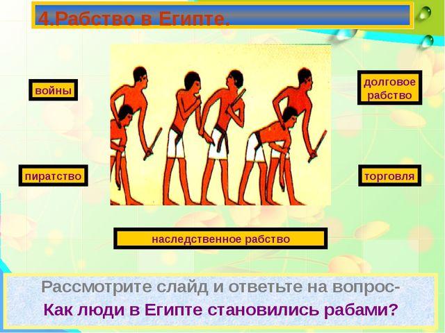 Рассмотрите слайд и ответьте на вопрос- Как люди в Египте становились рабами?...